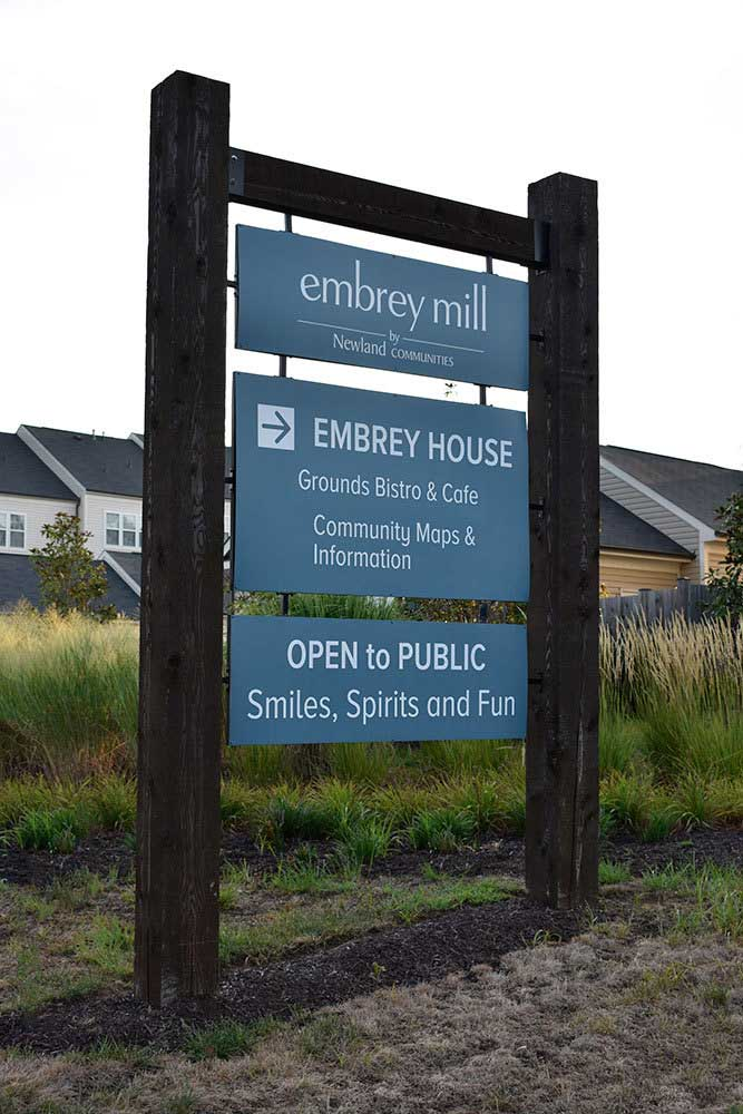 Embrey-Mills-welcome-center-signs